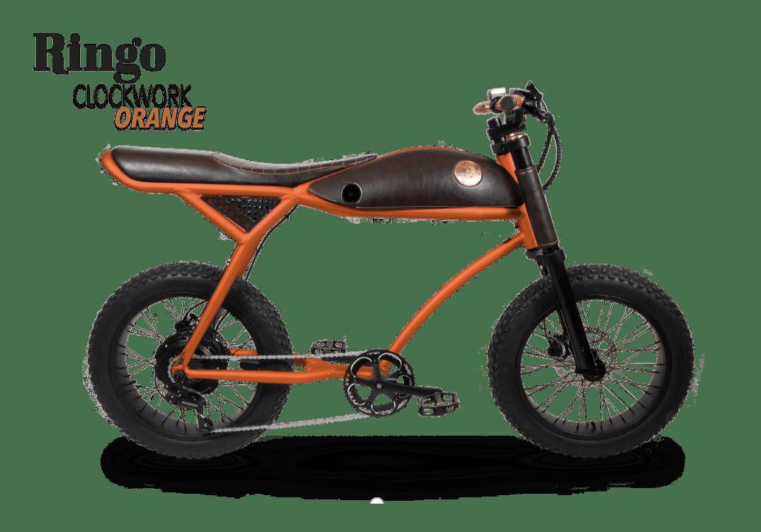 Rayvolt Retro Fat Bike Electrique Vintage 70s Ringo Orange 380Wh