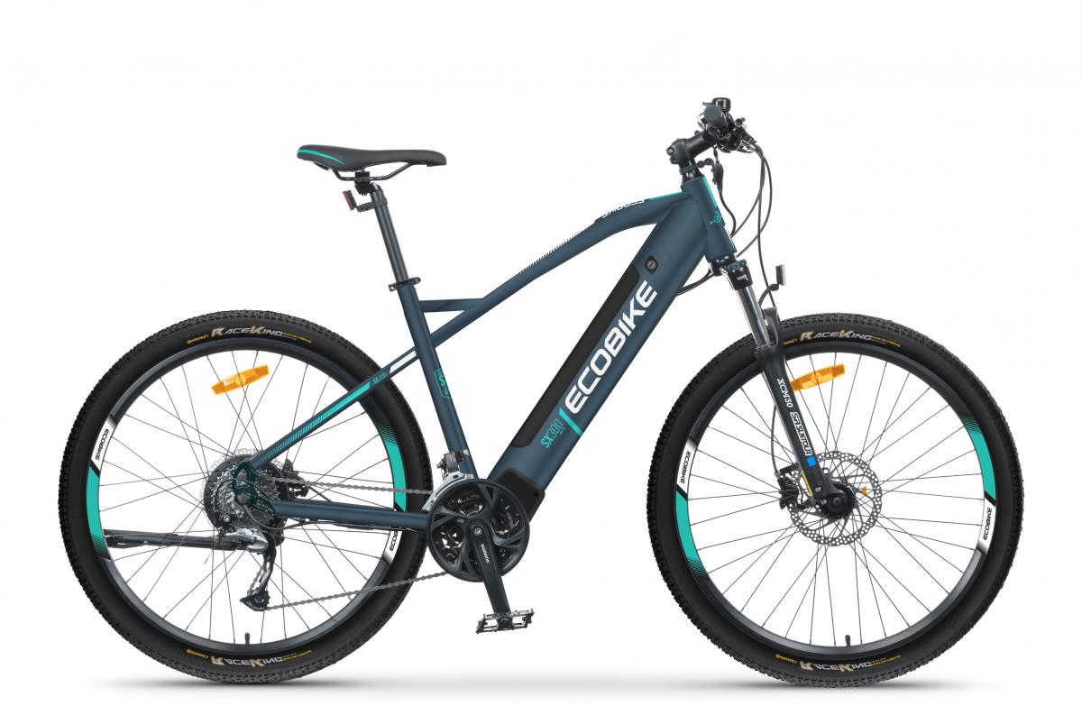 VTT Electrique Speed Bike Moteur Pedalier 45km/h Ecobike SX300 Bleu 500Wh