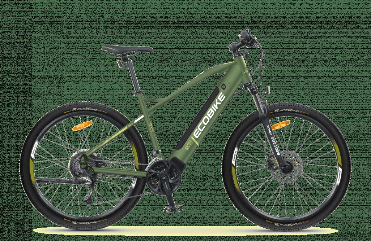 VTT Electrique Speed Bike Moteur Pedalier 45km/h Ecobike SX300 Vert 672Wh