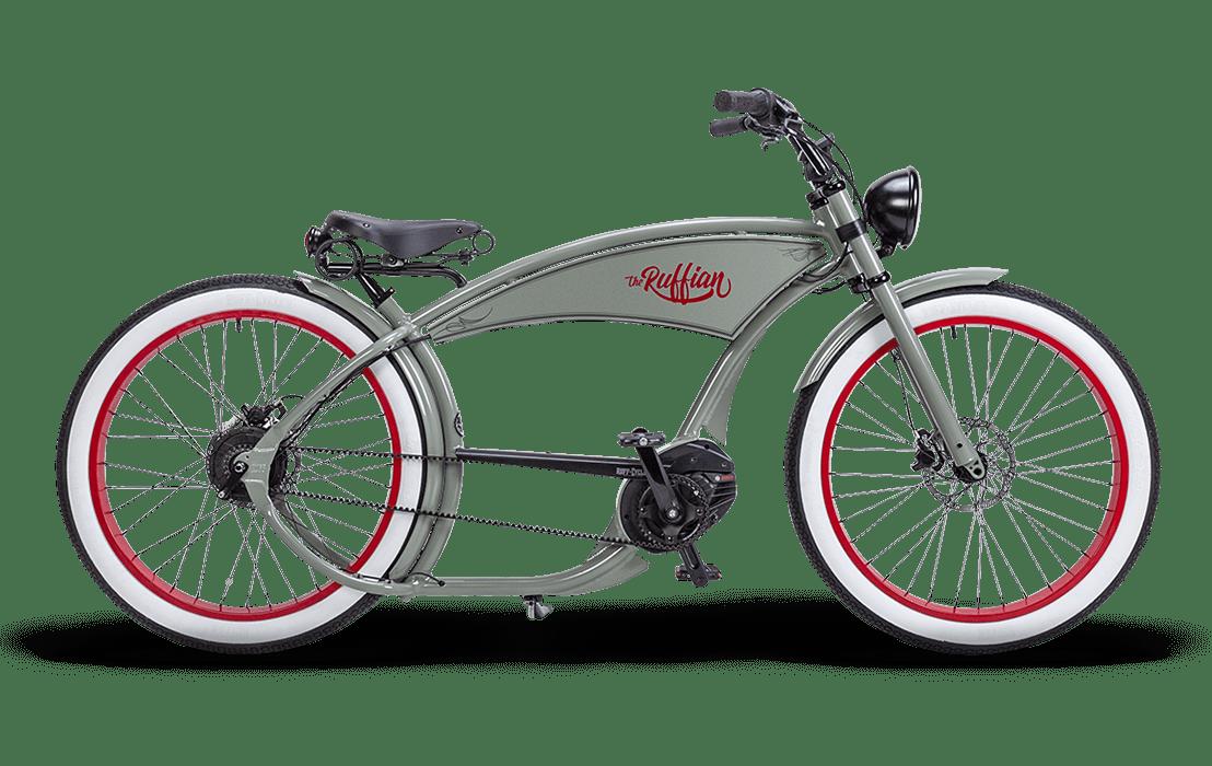 Ruff Cycles Ruffian Velo Electrique Chopper Bosch Moteur Pedalier 500Wh Gris