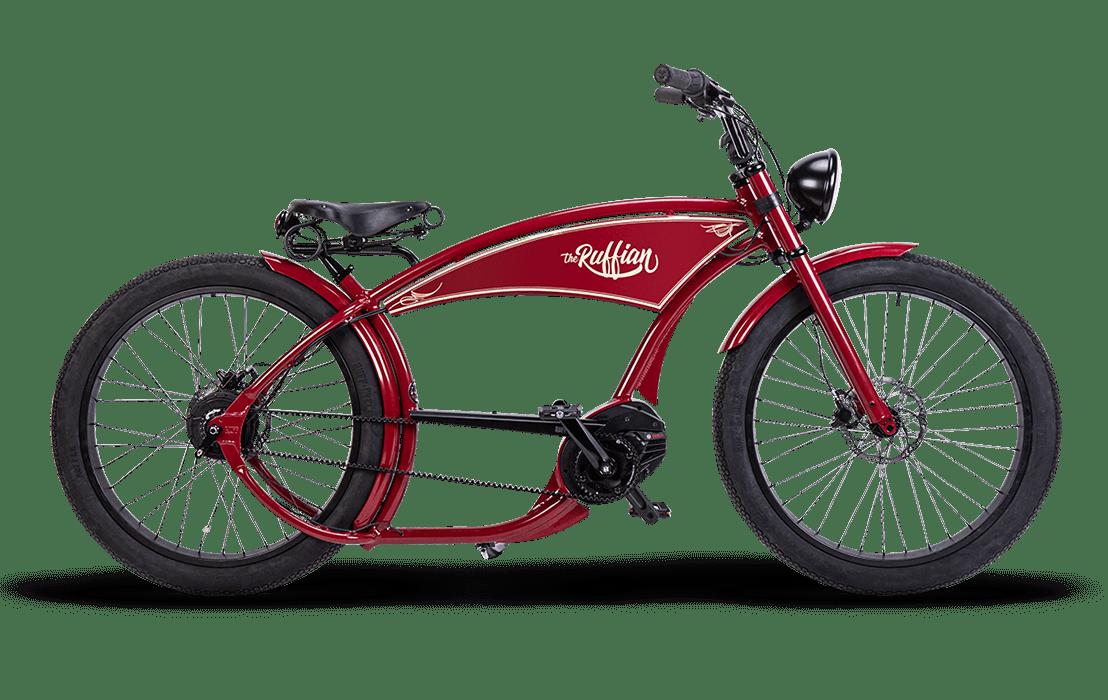 Ruff Cycles Ruffian Velo Electrique Chopper Bosch Moteur Pedalier 500Wh Rouge