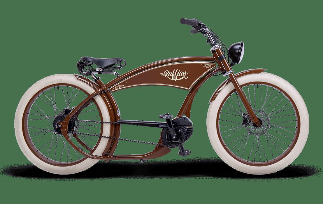 Ruff Cycles Ruffian Velo Electrique Chopper Bosch Moteur Pedalier 300Wh Marron