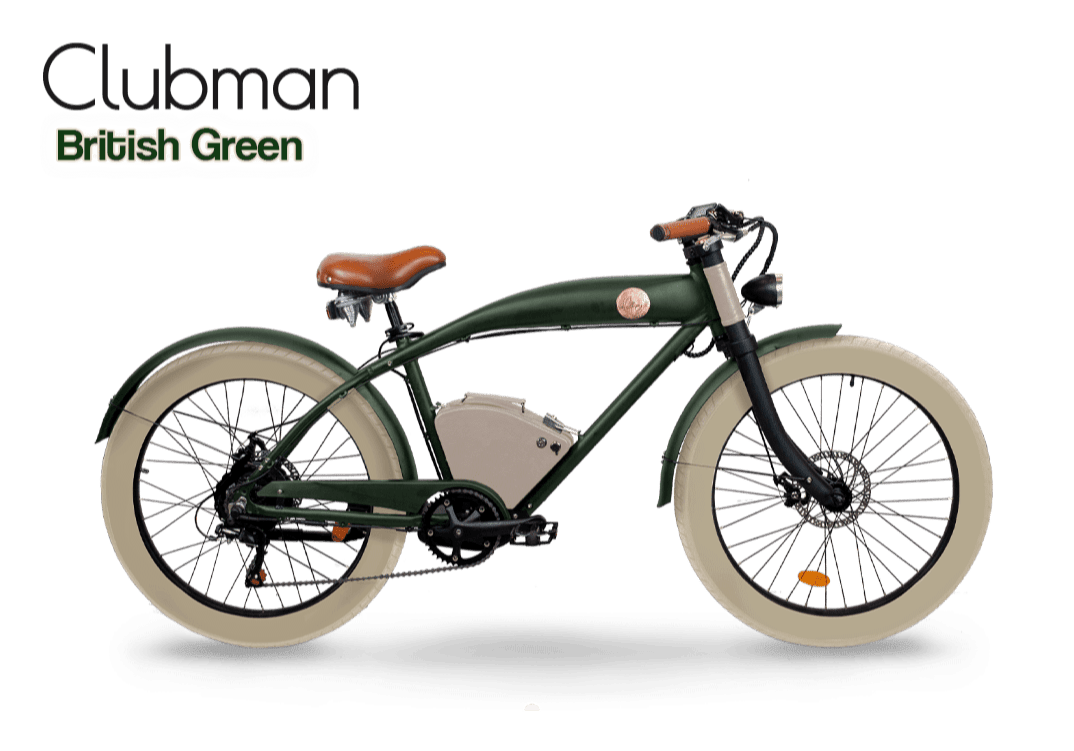 Rayvolt E Bike Cruiser Clubman vert upgraded batterie