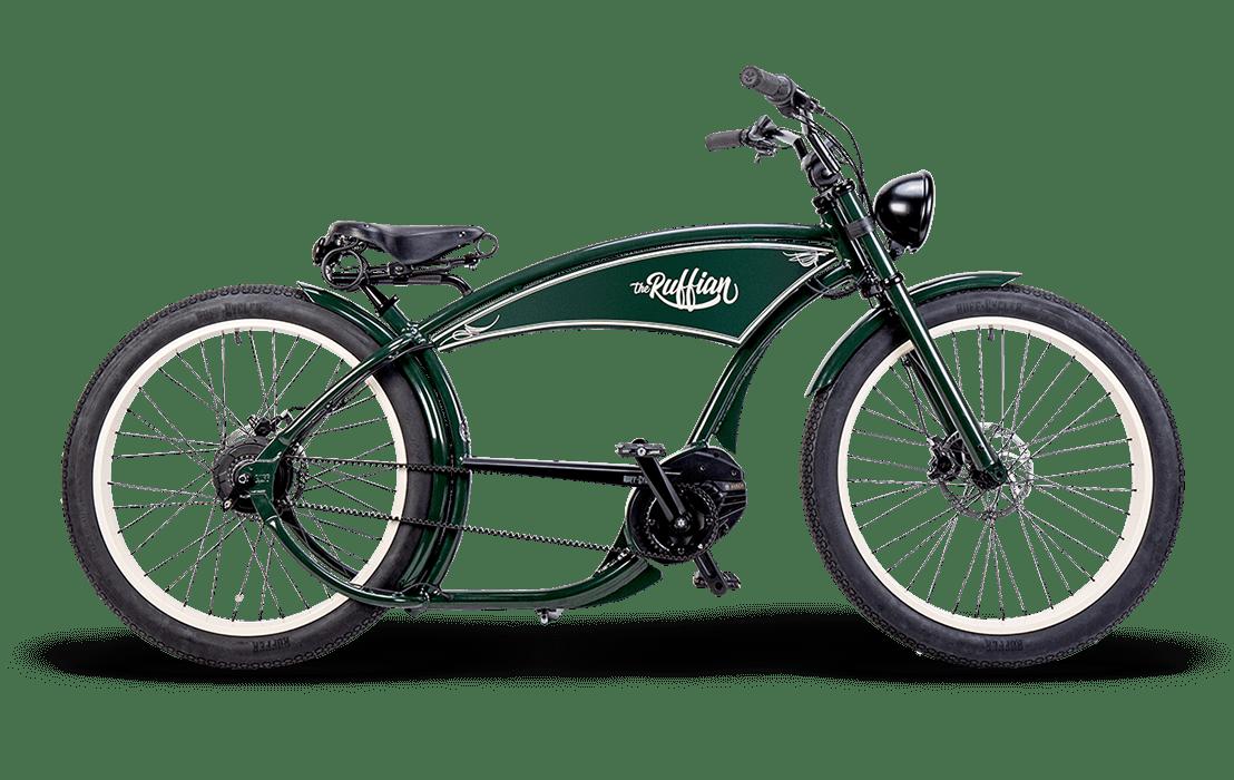 Ruff Cycles Ruffian Velo Electrique Chopper Bosch Moteur Pedalier 300Wh Vert